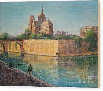 Notre Dame In Sunshine Wood Print