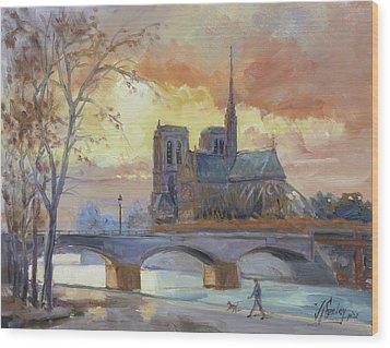 Notre Dame - Sunset, Paris Wood Print