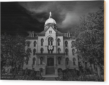 Wood Print featuring the photograph Notre Dame University Black White 3a by David Haskett