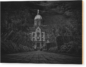 Wood Print featuring the photograph Notre Dame University Golden Dome Bw by David Haskett
