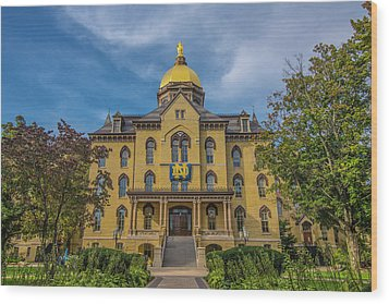 Wood Print featuring the photograph Notre Dame University Golden Dome by David Haskett