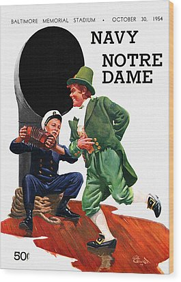 Notre Dame V Navy 1954 Vintage Program Wood Print