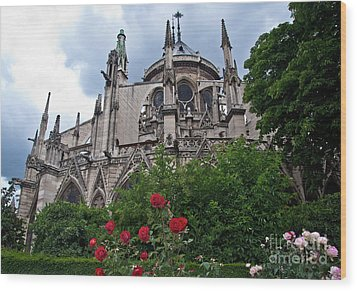 Notre Dame With Rose Garden Wood Print