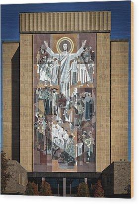 Notre Dame's Touchdown Jesus Wood Print by Mountain Dreams