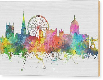 Nottingham  England Skyline Wood Print by Marlene Watson