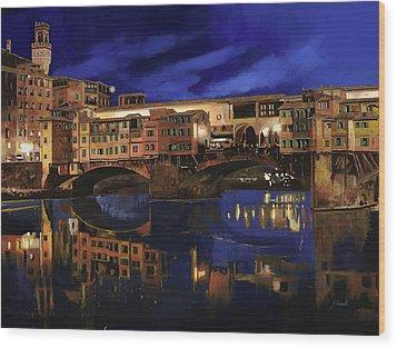 Notturno Fiorentino Wood Print by Guido Borelli