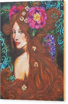 Nouveau Beauty Wood Print by Kimberly Van Rossum