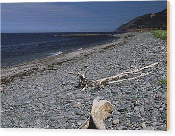 Nova Scotia Pebble Beach Wood Print by Sally Weigand