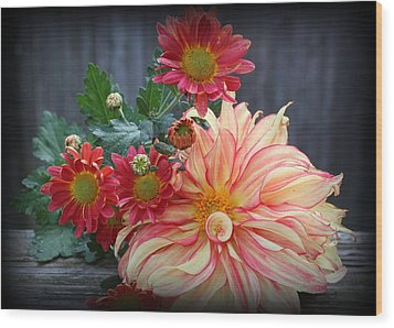November  Flowers - Still Life Wood Print by Dora Sofia Caputo Photographic Art and Design