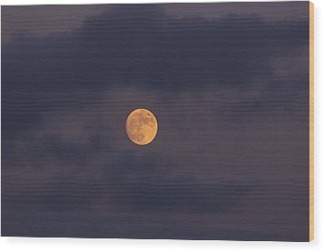 November Full Moon With Plane Wood Print by Angela A Stanton