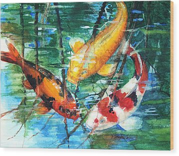November Koi Wood Print by Patricia Allingham Carlson