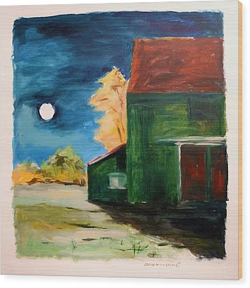 Wood Print featuring the painting November Moon Rising by John Williams