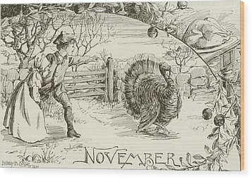 November   Vintage Thanksgiving Card Wood Print