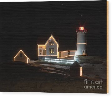 Nubble At Night Wood Print