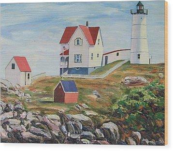 Nubble Light House Maine Wood Print by Richard Nowak