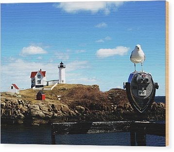 Nubble Light House Wood Print