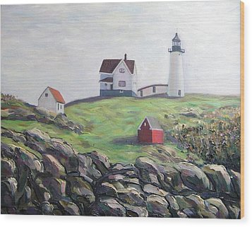Nubble Light House Wood Print by Richard Nowak