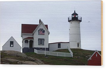 Nubble Light Wood Print by Kevin Fortier