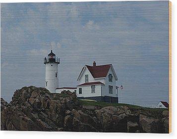 Nubble Light Maine Wood Print by Lois Lepisto