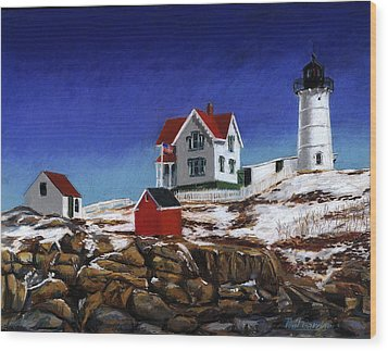 Nubble Light Wood Print by Paul Gardner