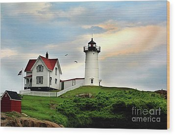 Nubble Lighthouse Wood Print by Adrian LaRoque