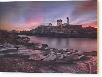 Nubble Lighthouse At Sunrise York Me Wood Print by Betty Denise