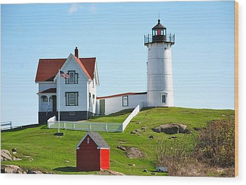 Nubble Lighthouse Wood Print by Eric Tressler