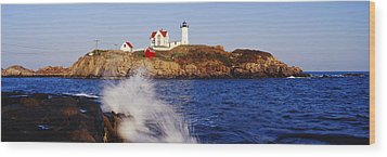 Nubble Lighthouse In Daylight Wood Print by Jeremy Woodhouse