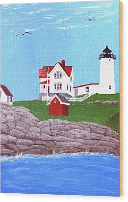 Nubble Lighthouse Painting Wood Print by Frederic Kohli