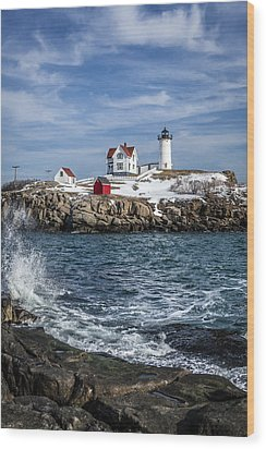 Nubble Lighthouse Winter Wood Print