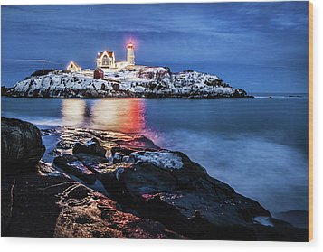 Nubble Lights Wood Print