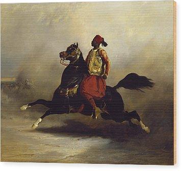 Nubian Horseman At The Gallop Wood Print by Alfred Dedreux or de Dreux