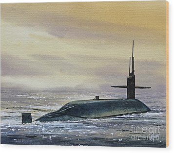 Nuclear Submarine Wood Print by James Williamson