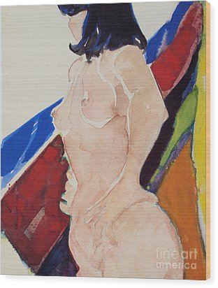 Wood Print featuring the painting Nude - Prim  by Diane Ursin
