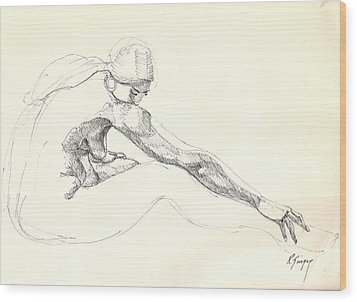 Wood Print featuring the drawing Nude 10 by R  Allen Swezey