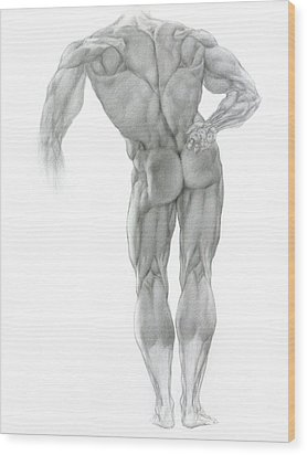 Wood Print featuring the drawing Nude 2 by Valeriy Mavlo