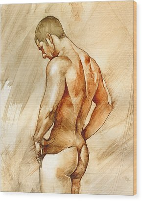 Nude 41 Wood Print by Chris Lopez