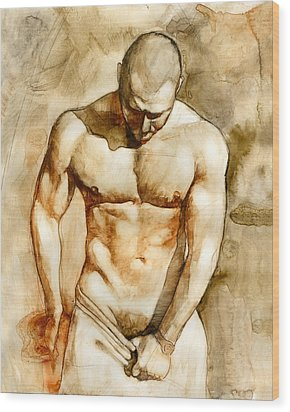 Nude 43 Wood Print by Chris Lopez