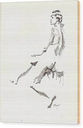 Wood Print featuring the drawing Nude 7 by R  Allen Swezey