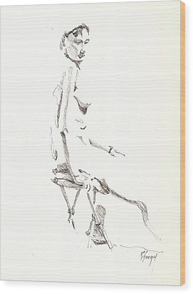 Wood Print featuring the drawing Nude 8 by R  Allen Swezey