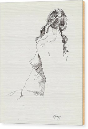 Wood Print featuring the drawing Nude 9 by R  Allen Swezey