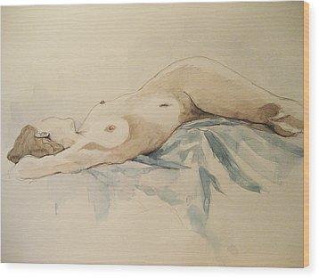 Nude 9 Wood Print by Victoria Heryet