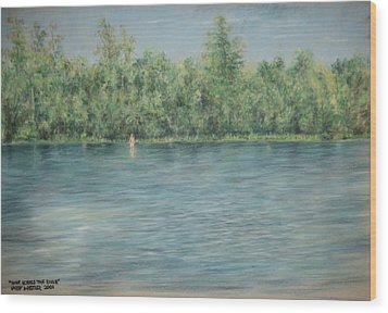 Nude Across The River Wood Print