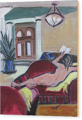 Wood Print featuring the painting Nude And Foyer by Betty Pieper