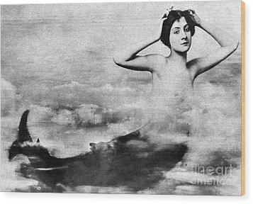 Nude As Mermaid, 1890s Wood Print by Granger