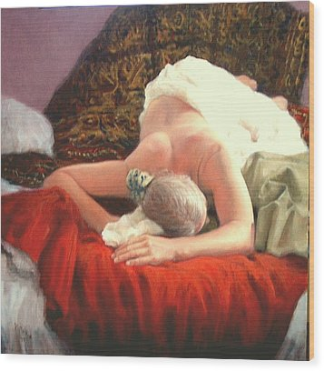 Wood Print featuring the painting Nude At Rest 1 by Donelli  DiMaria