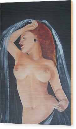 Nude Bride Wood Print by Martha Mullins