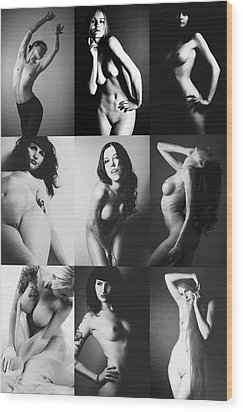 Nude Bw Collage  Wood Print by Falko Follert
