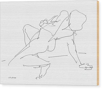 Nude-female-drawing-17 Wood Print by Gordon Punt