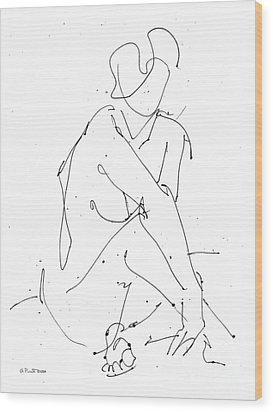 Nude-female-drawing-19 Wood Print by Gordon Punt